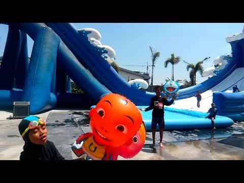 QYLA Melepaskan 5 Balon Terbang, Balon Karakter Masha, Doraemon, Kitty amp Upin - Balonku Ada 5