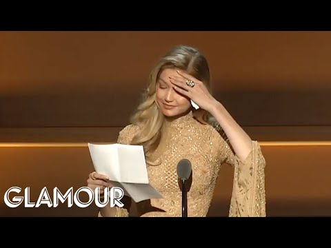 Gigi Hadid Gives Emotional Speech Receiving Her WOTY Award from Serena Williams   Glamour WOTY 2017