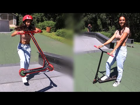 SKATER GIRL LEARNS TO TAILWHIP ON SCOOTER!