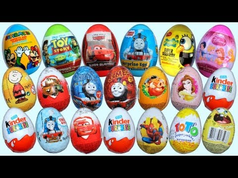 thomas - 20 Surprise Eggs Unboxing, Kinder Surprise, Cars 2 Surprise eggs, Thomas Surprise eggs, Spongebob Super Surprise, Toy Story Surprise egg, Cars 2 Zaini chocol...