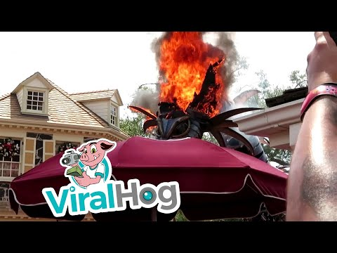 Fantasy Parade Dragon Catches Fire At Theme Park || Viralhog