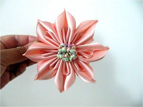 Moños para el cabello flor ocho pétalos en cintas con dobleces