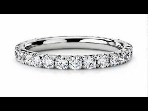 French Pave Diamond Eternity Ring in Platinum (1 ct. tw.) - Jewelry