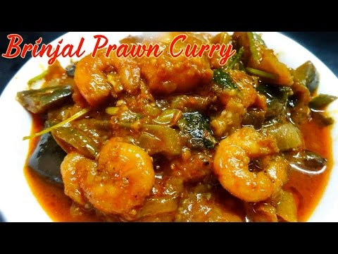 Brinjal with Prawn Curry Vankaya Pachhi Royyala Koora