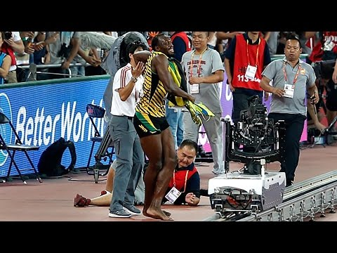 Usain Bolt Wiped Out By Segway-Riding Cameraman