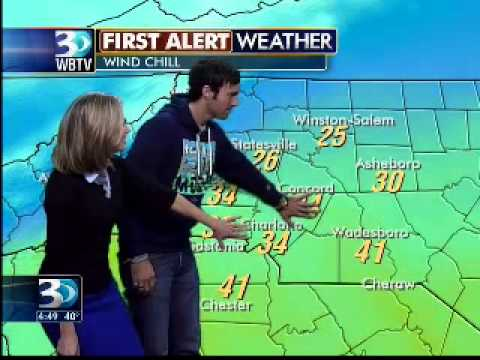 Comedian Jeff Dye stops by WBTV, helps Ashley with weather
