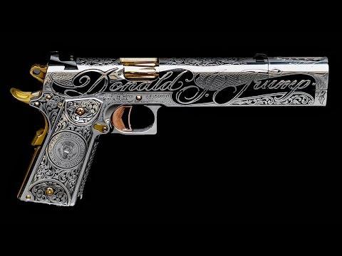 The custom built Donald Trump 1911 pistol by Jesse James
