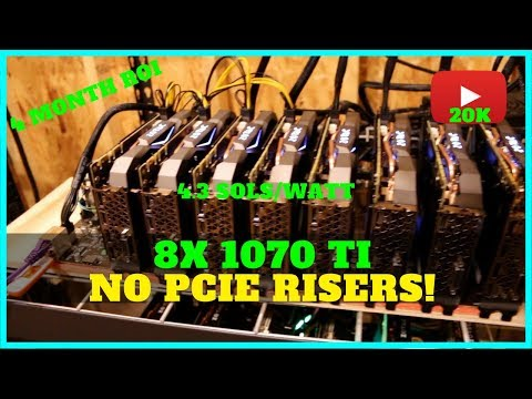 8x GPU Riser-less Mining Rig Build w/ 1070 TI + 20k Subscribers!