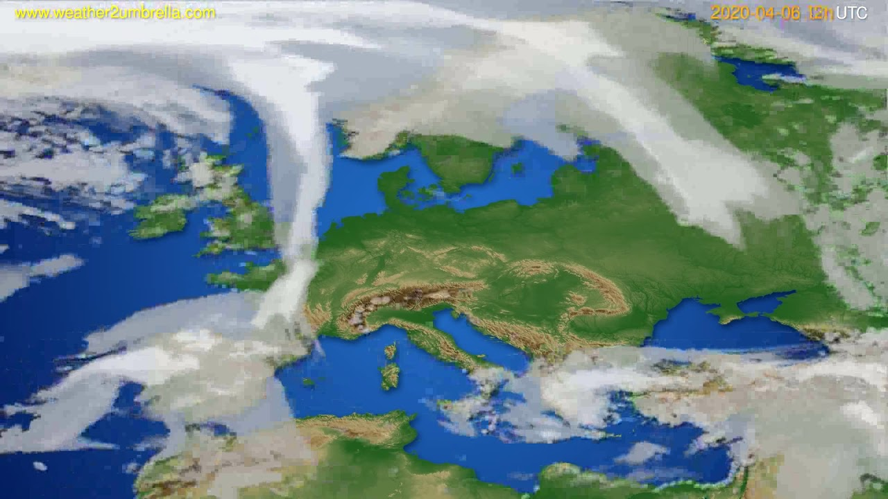 Cloud forecast Europe // modelrun: 00h UTC 2020-04-06