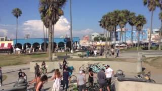 Skateboard Park on beach at Venice Beach, CA