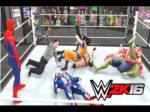 WWE 2K16 - Spider-Man Vs Hulk Vs Bane Vs Goku Vs Deadpool Vs Superman
