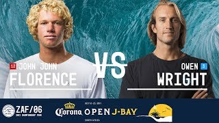 John John Florence faces off against Owen Wright in Round Five, Heat 2 at the 2017 Corona Open J-Bay. #WSL #jbay Subscribe...
