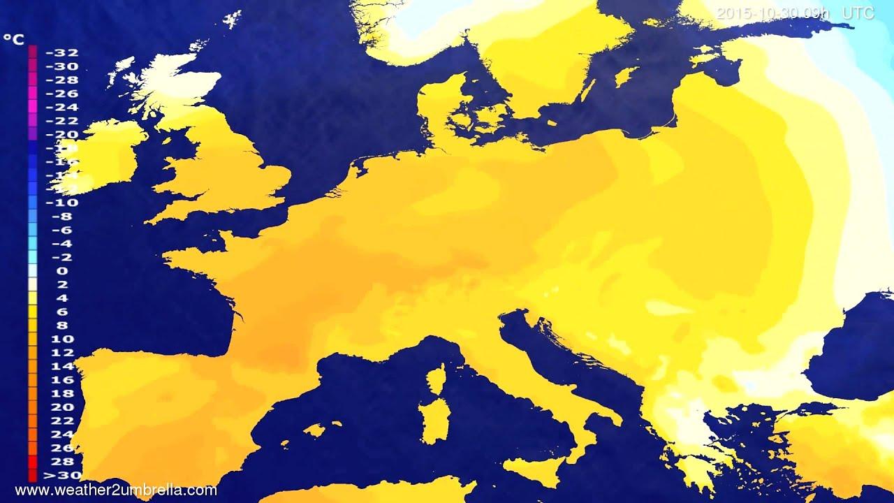 Temperature forecast Europe 2015-10-28