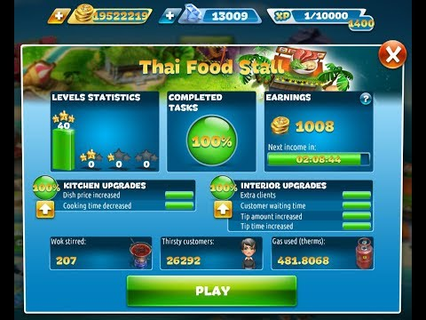 Cooking Fever-Thai Food Stall Level 1-40(3 Stars)