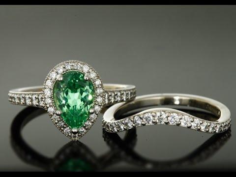 Mint Garnet Engagement Ring