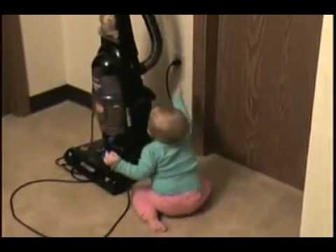 Baby frightens from vacuum cleaner funny