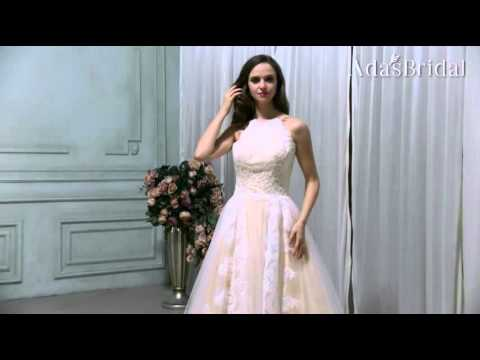Glamorous Tulle Halter Neckline A-line Wedding Dresses With Lace Appliques (WWD78485)