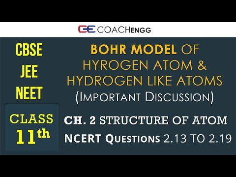 STRUCTURE OF ATOM Class 11 NCERT Solutions Q2.13 to Q2.19 - Bohr Model of Hydrogen Atom - JEE | NEET