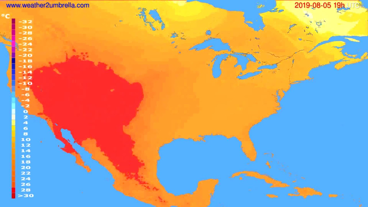 Temperature forecast USA & Canada // modelrun: 12h UTC 2019-08-02