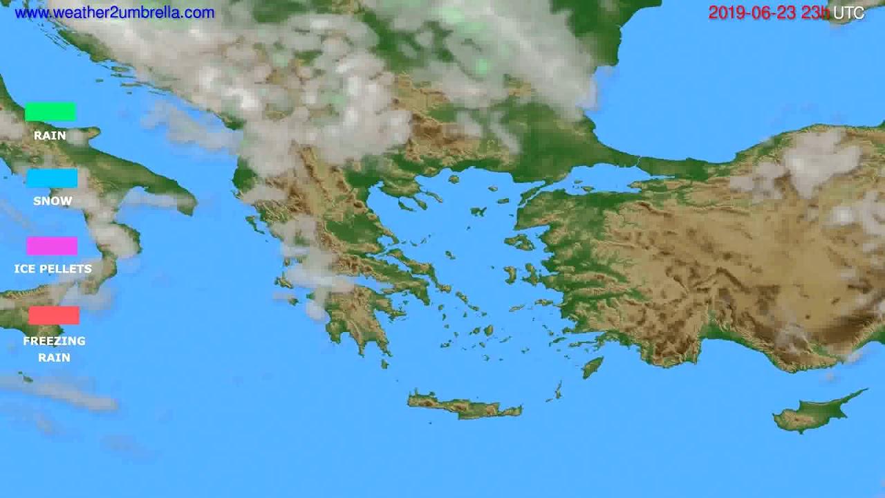 Precipitation forecast Greece // modelrun: 12h UTC 2019-06-20