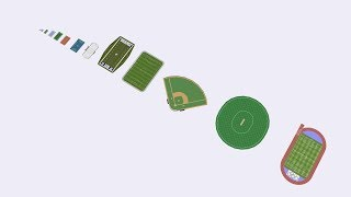 Size comparison of different sports arenas in 3D