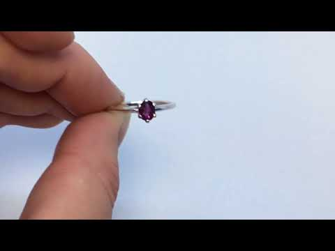 Rhodolite Garnet Ring, .33 Carats, 6x4mm Oval, Sterling Silver, Size 5