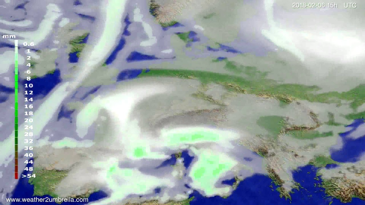 Precipitation forecast Europe 2018-02-04