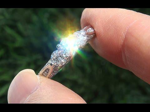 Certified Natural VS1/G 3 Stone Past Present Future Diamond 14k White Gold Ring - C729