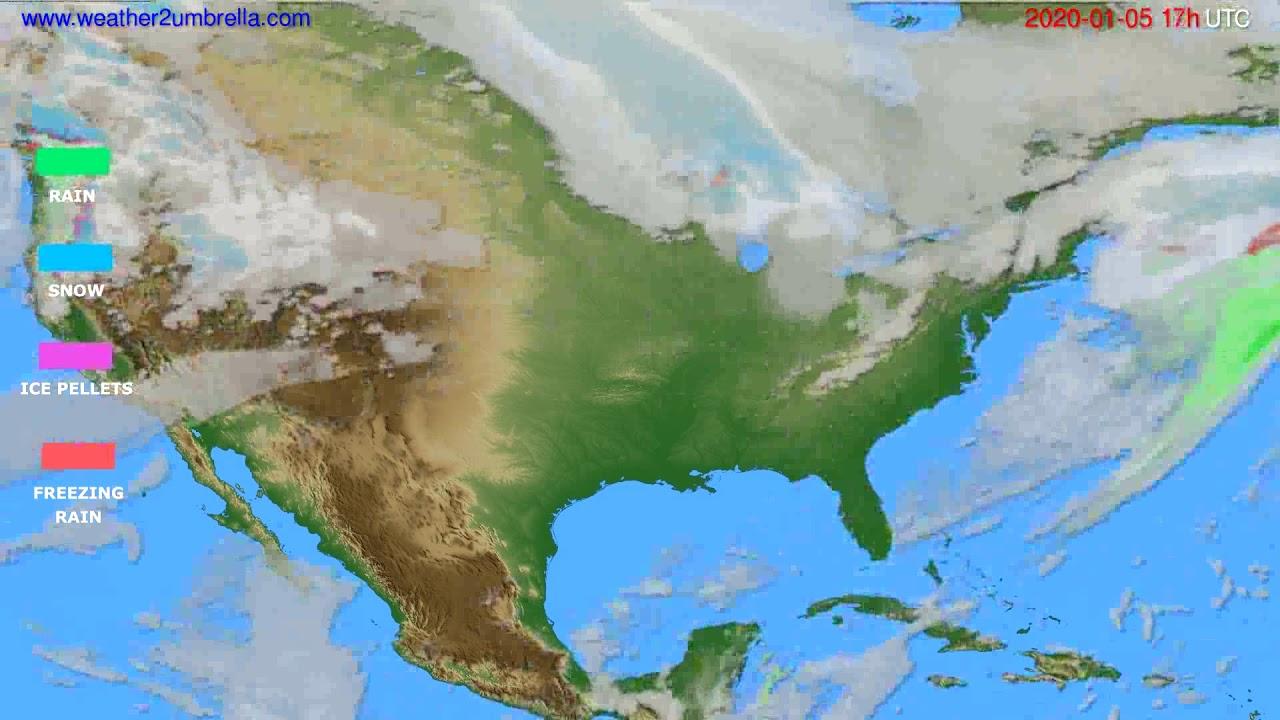 Precipitation forecast USA & Canada // modelrun: 12h UTC 2020-01-04