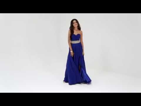 Shail K Ruched Bodice Long Dress 3901
