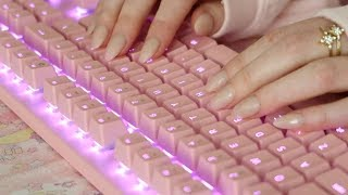 [ASMR] Actually Typing On Keyboard In Japanese With Acrylic Nails | Mechanical Keyboard, No-Talking