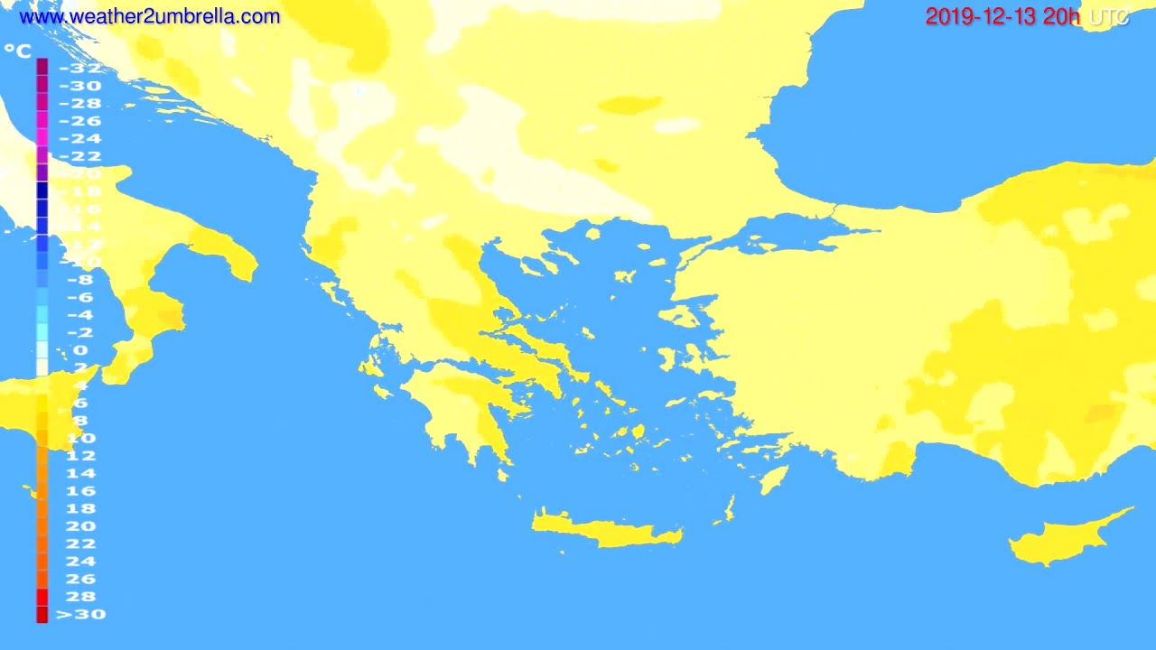 Temperature forecast Greece // modelrun: 12h UTC 2019-12-12
