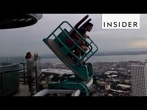 This Ride Tilts you Over the Edge (видео)