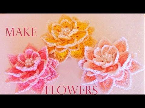 Como tejer fácil  rápido flores hermosas en una sola tira - How to make knitting crochet