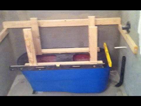 Concrete - Part 1 of 3 videos showing the complete process of making a concrete bath tub in place. Using a fiberglass tub mold, Part 1 shows setting up the plumbing, fr...