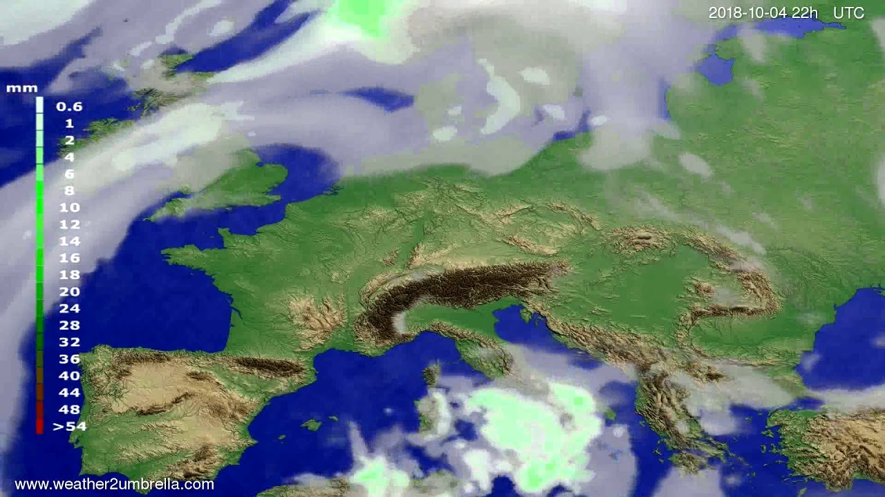 Precipitation forecast Europe 2018-10-02