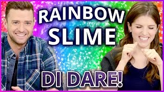 DIY NEON RAINBOW SLIME?! Di Dare w/ Justin Timberlake and Anna Kendrick Video