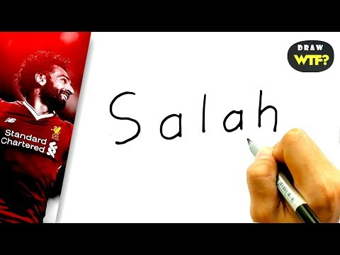Very Easy! How To Turn Word SALAH (Egypt - Liverpool FC) Into Cartoon? DRAW WTF