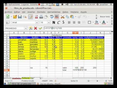 Video 2 de LibreOffice: Tutorial Calc parte 2