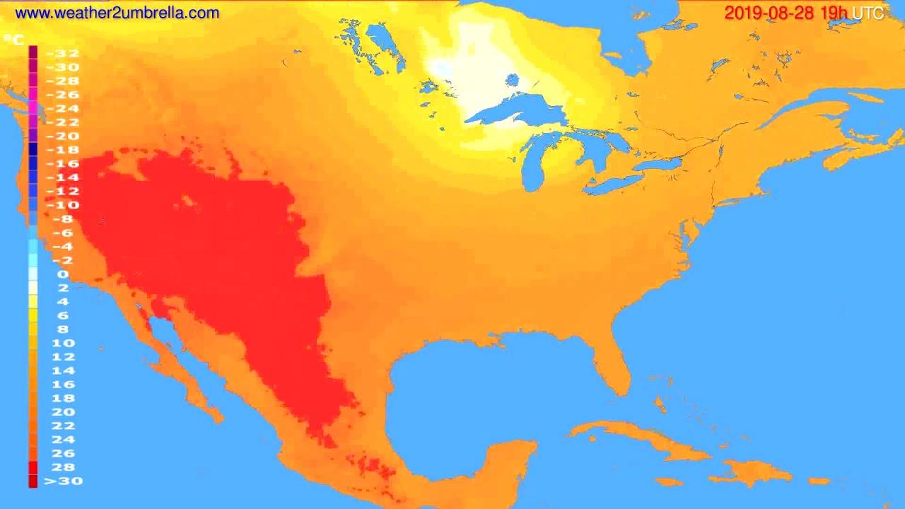 Temperature forecast USA & Canada // modelrun: 12h UTC 2019-08-25