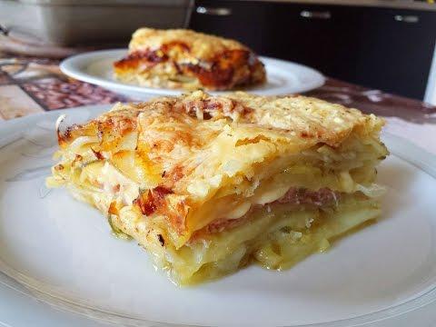 tortino di patate con prosciutto e formaggio.