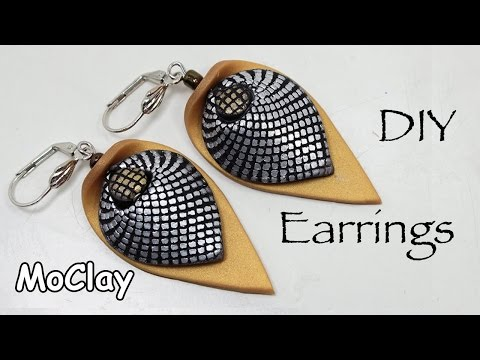 polymer clay earrings tutorial - how to make a mesh effect