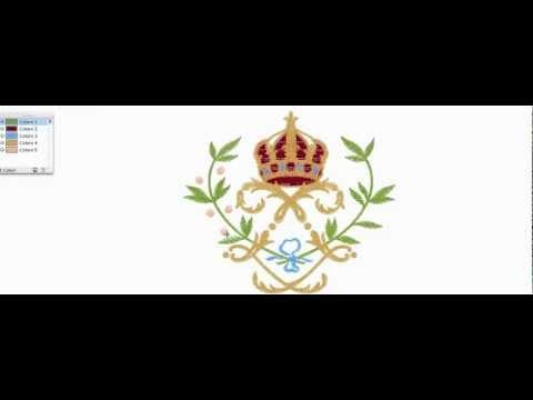 Moviola di uno stemma ricamato