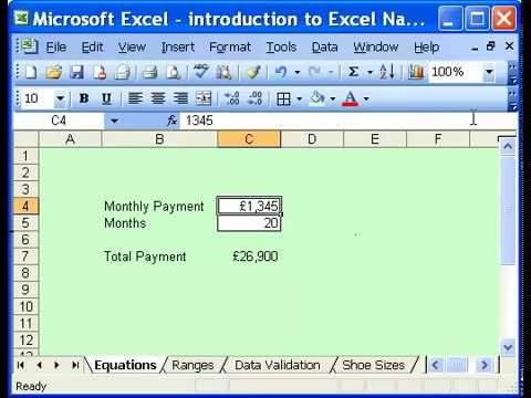 Beginners guide to Excel Named Ranges