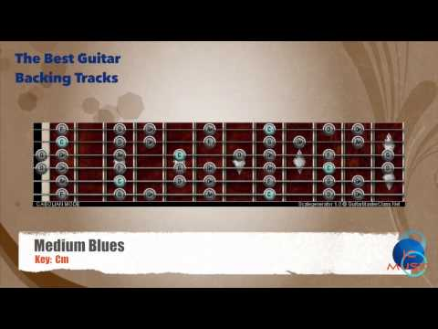 Medium Blues Cm Guitar Backing Track with scale map / Chart