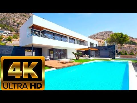 Very beautiful luxury house with sea views in Spain in high-tech style in Altea Hills, Costa Blanca