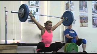 Weightlifting training footage of Catalyst weightlifters. Tamara snatch deadlift to knee + snatch