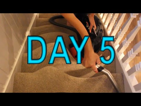 Vacuuming Staircase 7 Days - DAY 5 -  Woman Vacuuming On Stairs💄👠