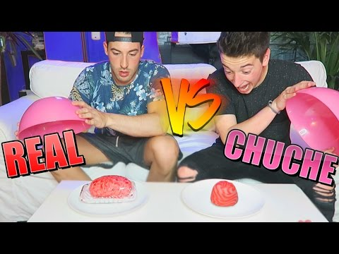 comida real vs comida de gominola!! con un cerebro
