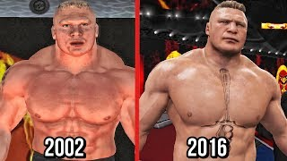 The evolution of The beast incarnate Brock Lesnar in WWE games which feature his entrances, finisher/signature moves from WWE SmackDown! Shut Your Mouth to WWE 2K17.Subscribe to Bestintheworld https://goo.gl/bh0dMlFollow me on Twitter https://goo.gl/g2hpKr